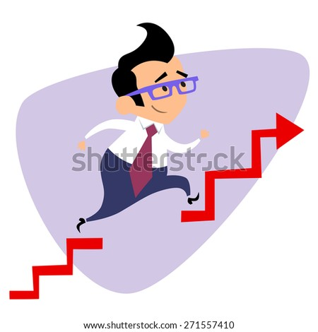 Businessman takes a step over the obstacle graph of sales. The image of business as a sport. Businessman in sports situations