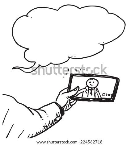 Businessman taking selfie speaking - stock vector