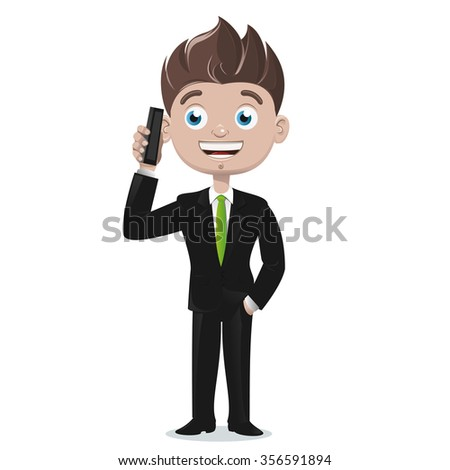 Businessman talking on cell phone - stock vector