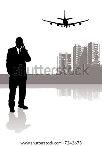 businessman talking on his phone while a plane flies over head - stock vector