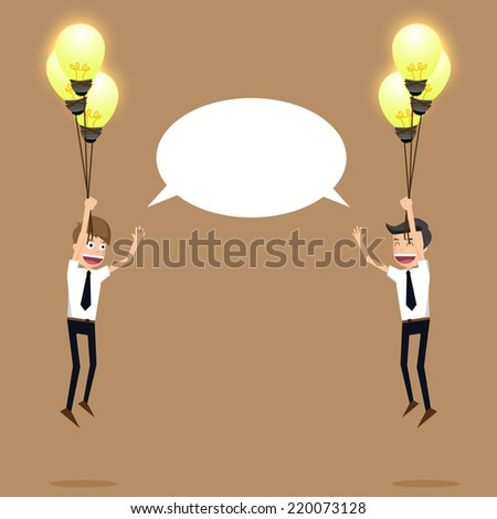 businessman teamwork of bulbs idea.vector - stock vector