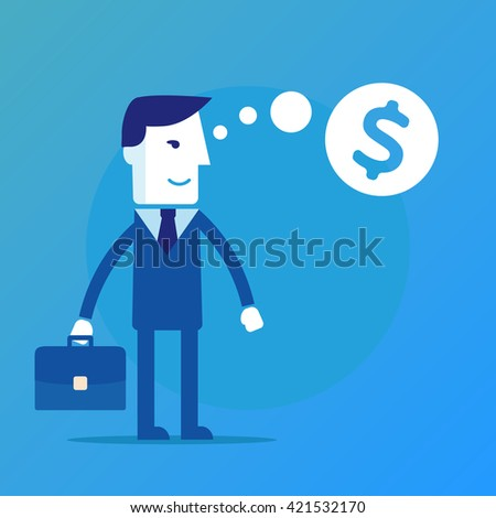 Businessman thinking about money vector eps 10 - stock vector