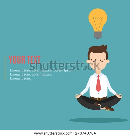 Businessman thinking during meditation, cartoon flat vector background - stock vector