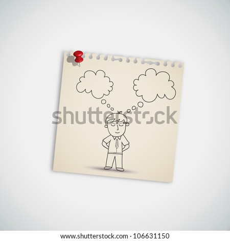 Businessman Thinking on Note Paper Vector