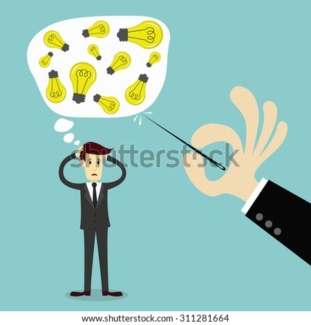 Businessman thinking to get an idea and Hand stab a thinking bubble, business vector illustration - stock vector