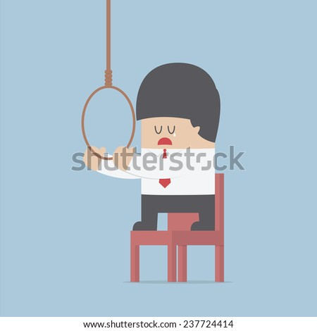 Businessman thinking to suicide with hanging rope, VECTOR, EPS10 - stock vector