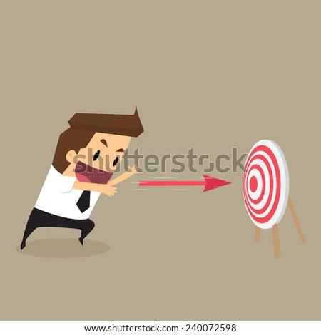 businessman throw arrow on target.vector - stock vector