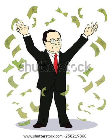 businessman throwing bank notes. Vector illustration of old rich businessman with money - stock vector