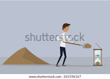 Businessman throwing sand with a shovel inside the hourglass. Background of two shades of blue.