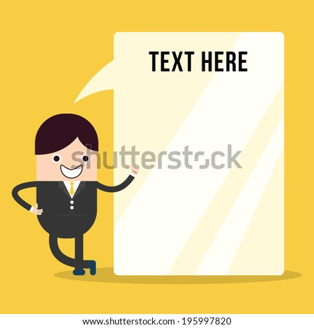 Businessman thumbs up with bubble talk blank sign  - stock vector