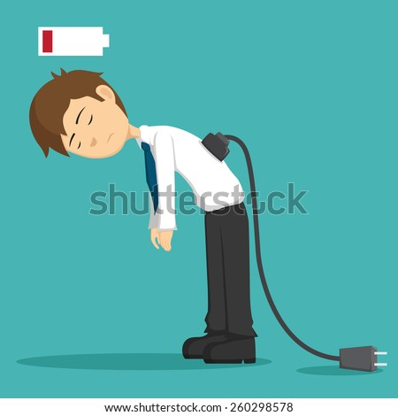 Businessman Tired of Working or Low Battery And Need Socket - stock vector