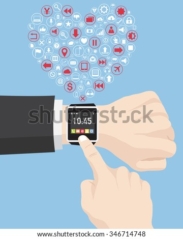 Businessman touching on smart watch for Love Heart with Creative business icons, technology icons and strategy planning web icons Idea, Vector Illustration EPS 10. - stock vector