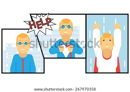 Businessman Transformation Super Hero Character Comics Page Concept Urban Landscape City Street Background Creative Flat Design Vector Illustration - stock vector