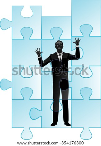 Businessman Trapped in Jig Saw Puzzle-Large glass puzzle pieces with person silhouette on the other side