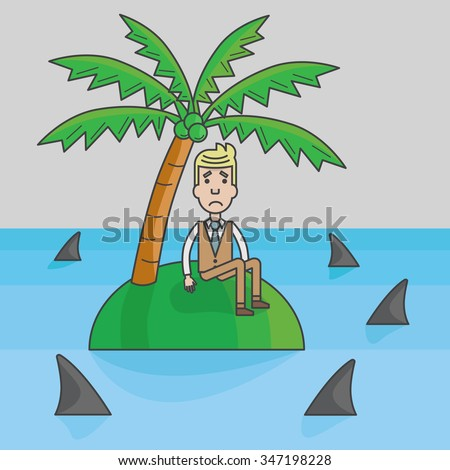 Businessman trapped on the island surrounded by water and sharks, abstract business concept, vector, illustration - stock vector