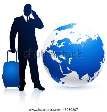 businessman traveler with Globe Original Vector Illustration - stock vector