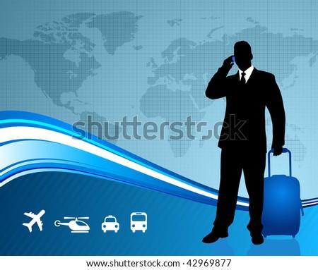 Businessman traveler with world map background Original Vector Illustration - stock vector