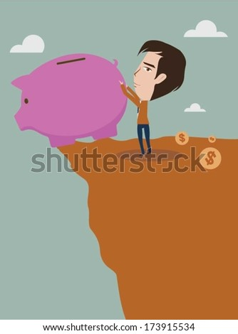 Businessman trying to break piggy bank with coins - stock vector
