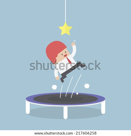 Businessman trying to catch the star by jumping on trampoline, VECTOR, EPS10 - stock vector
