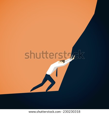Businessman trying to move mountains - stock vector