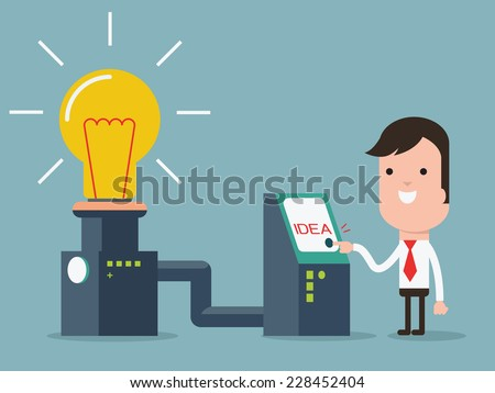 Businessman turn on invention machine for glowing lightbulbs, representing to create idea.  - stock vector