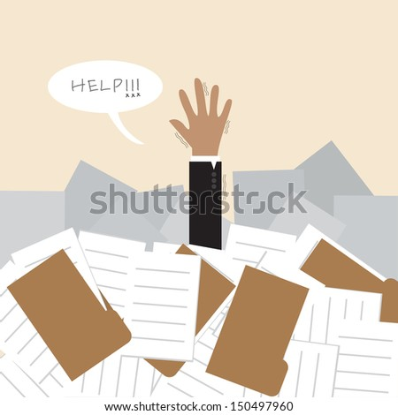 Businessman under a lot of document and call for help