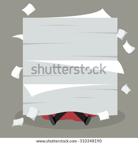 Businessman under a lot of documents. Business concept - stock vector