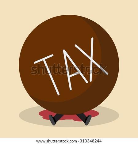 Businessman under heavy tax. Business concept - stock vector