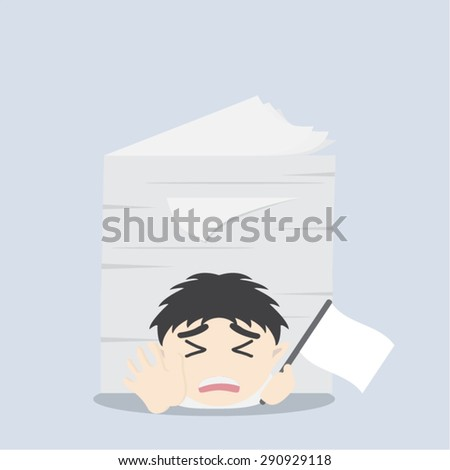 Businessman under the stack of paper - stock vector