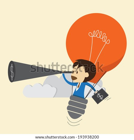Businessman use idea  looking the money - stock vector
