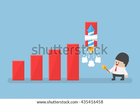 Businessman use rocket fireworks to increase profit graph, solution, business success concept - stock vector