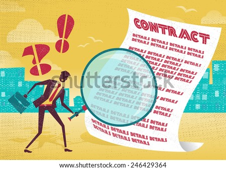 Businessman uses magnifying glass to check contract. Businessman is very careful to check the fine print of his business contract with his huge magnifying glass. - stock vector