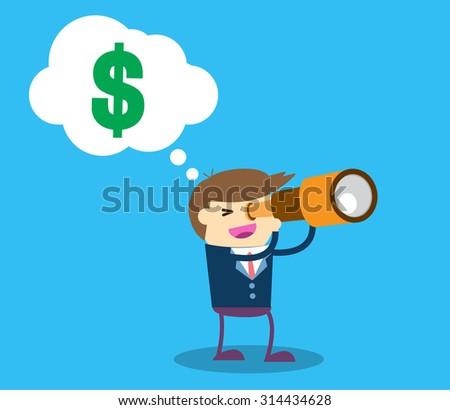 businessman using binoculars ,vector, Cartoon businessman looking for success, opportunities, future business trends through a telescope, flat illustration,dollar money, man, business concept. design. - stock vector