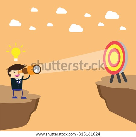 businessman using binoculars, winner. finish. win. flat design. track. Success. Target. Bulb Ideas. Business and finance vision concept. Goal. dream. vector. infographics. number one. Cliffs, chasms - stock vector