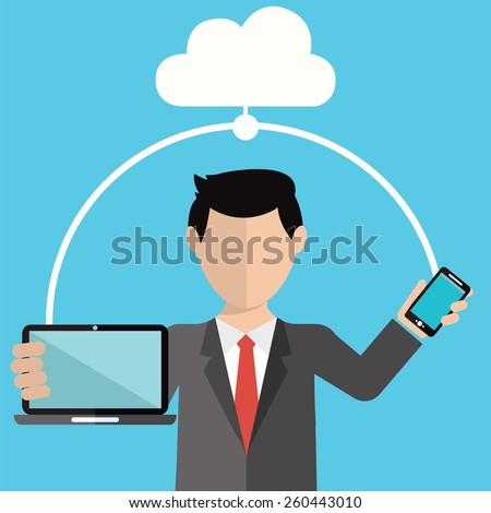 Businessman using cloud storage for smart phone and laptop. Vector illustration in flat design style - stock vector