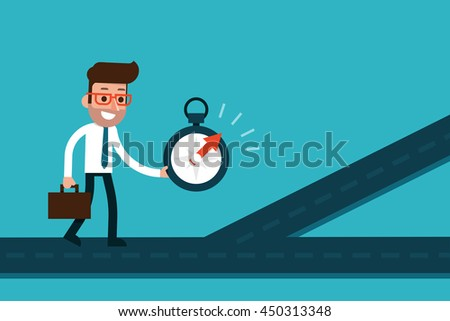 Businessman using compass to find success way.