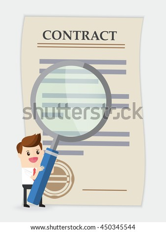 businessman using huge magnifying glass analyze contract - stock vector