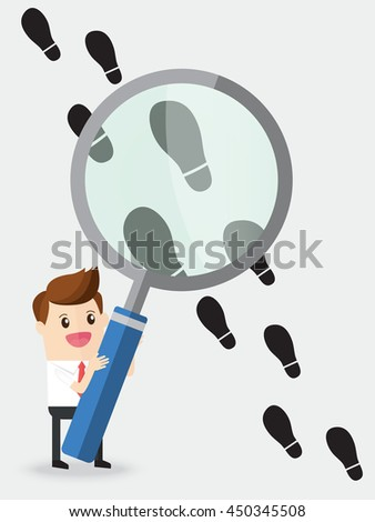 businessman using huge magnifying glass analyze footprints track - stock vector
