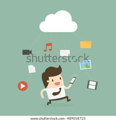 Businessman Using Mobile Phone With Cloud And Media Icon. Cloud Technology Concept.