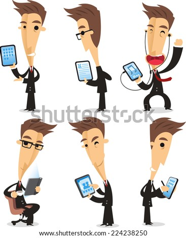 businessman using tablet cartoon action set - stock vector