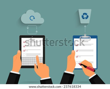 Businessman using tablet pc and notepad with task list. Cloud synchronization concept - stock vector