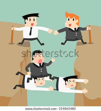 businessman vector go through obstacle with colleague - stock vector