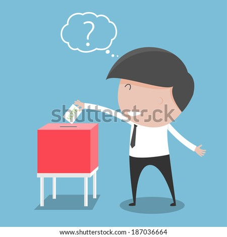 Businessman vote at ballot box. Vector illustration - stock vector