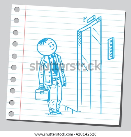 Businessman waiting for elevator - stock vector