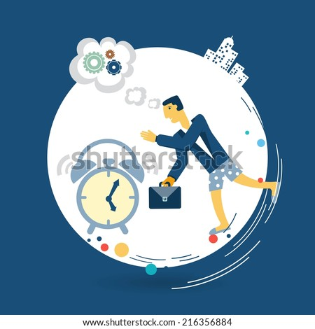 businessman wakes up in the morning alarm clock illustration - stock vector