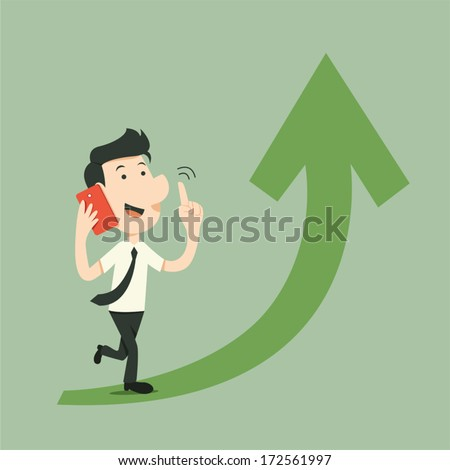 businessman walk with smart phone and arrow up