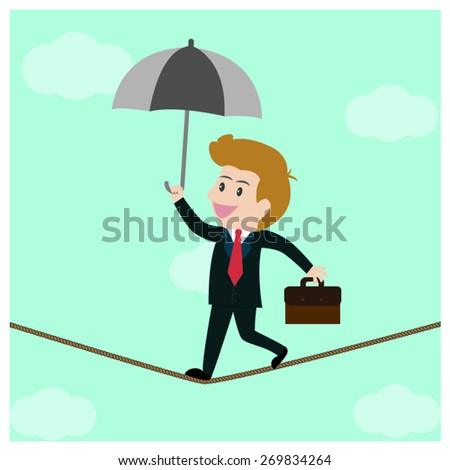 Businessman walked on high risk. - stock vector