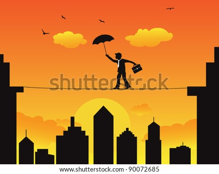 businessman walking a high wire tightrope - stock vector