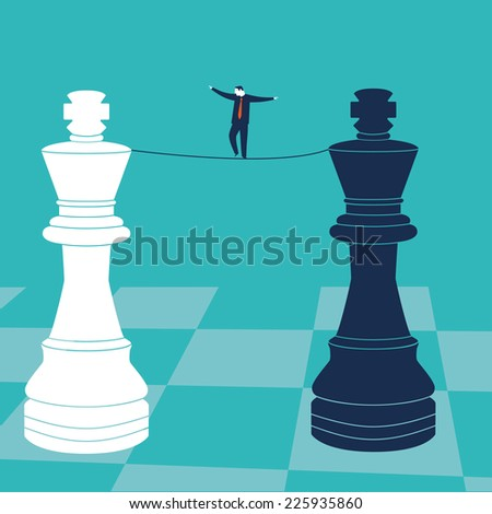 Businessman walking on a tighrope with chess kings. Vector illustration. Created with adobe illustrator. - stock vector