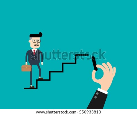 businessman walking on drawing stairs Business concept.